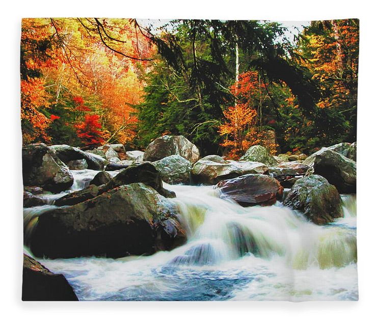 #jefffolger Fleece Blanket featuring the photograph Vermonts Fall Color Rapids by Jeff Folger