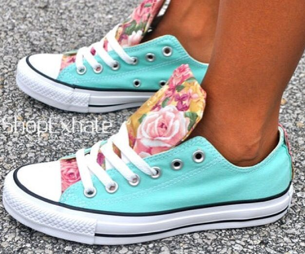 Teal and floral print custom converse.