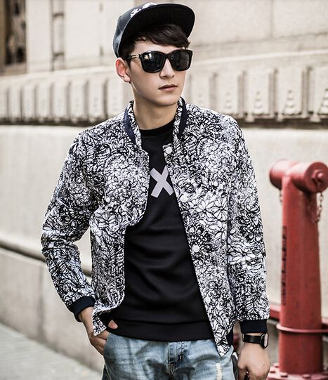 $45.01 -- Mens Winter Jackets Wholesale Men Jacket Floral Printing Korean Style Winter And Autumn Leisure Wear For Sale M-XXL Discount Online Shopping