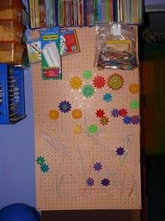 DIY Chalkboard, feltboard, pegboard, geoboard, gear board and front facing book shelves (on the backs of shelves!)