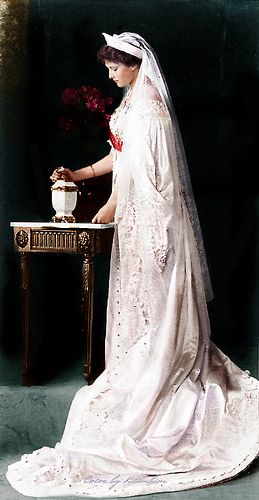 Grand Duchess Tatiana Romanova of Russia in court dress.  She is now Saint Tatiana of the Russian Orthodox Church.  She died age 21 together with her family.