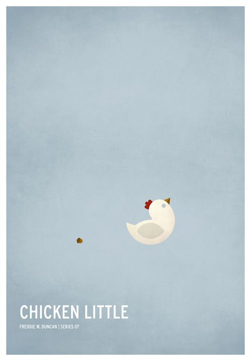 Chicken Little. Minimal Classic Children Story Posters by Christian Jackson #minimalism
