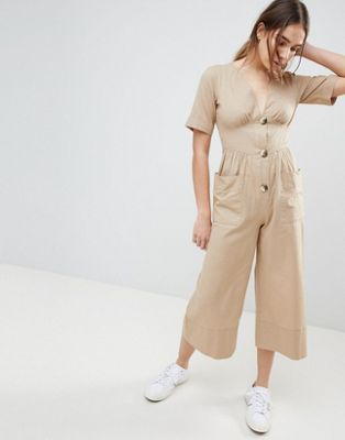 73f2496ef39a ASOS DESIGN Cotton Tea Jumpsuit With Horn Button Detail