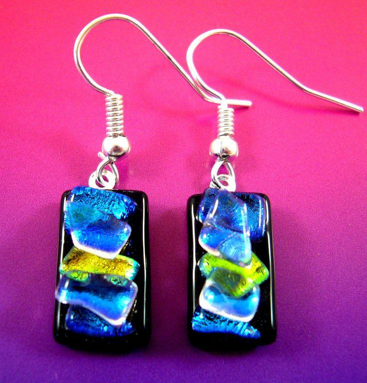Sculptured Dichroic Glass Dangly Drop Earrings Handmade Rainbow Crystals Genuine £3.85