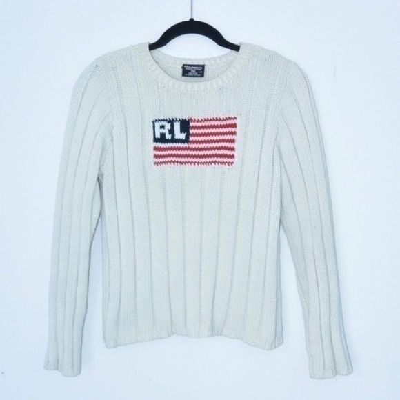 Polo Jeans Co. American Flag Sweater ♡ MAKE ME AN OFFER!  ♡ Questions? Please ask!  Beautiful vintage Ralph Lauren Polo Jeans Co. American Flag Logo Crew Neck Sweater. Cream thick rib / ribbed knit pullover. Very warm! Purchased from another seller but was too small for me, sadly; tag says size medium but fits more like a small!  + 100% Cotton Ralph Lauren Sweaters Crew & Scoop Necks