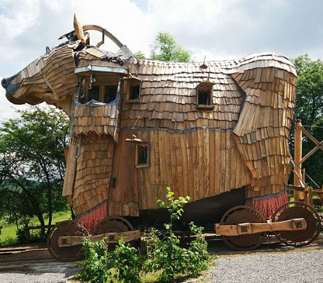 Trojan Horse inspired hotel  Bizarre but true -boutique hotel La Balade des Gnomes, situated in the Belgian village of Durbuy, offers ten medieval-themed rooms in this timber-clad curiosity. See more here