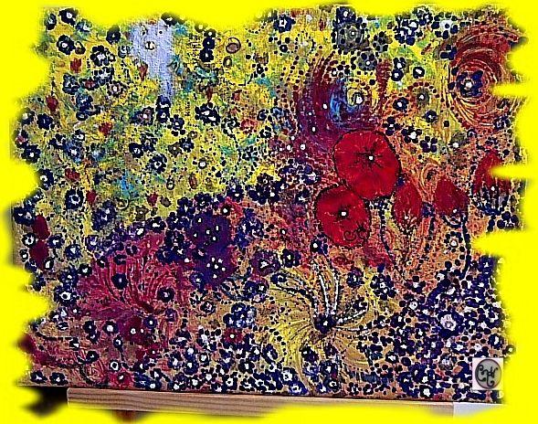 """Nano-Fog-Series- Microscopic Plant Cell"" Mar-2017 by CH Original, acrylics on canvas ♥ 12"" x 9"""