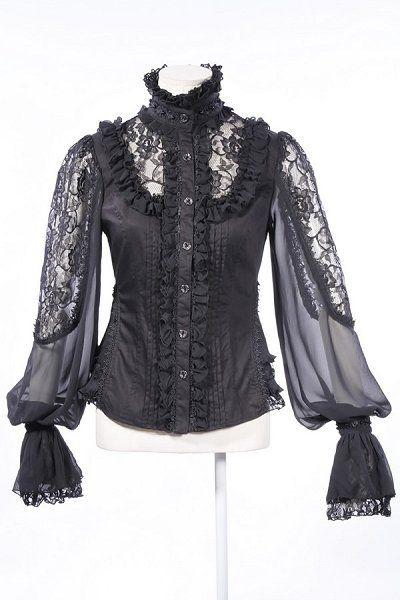 Black Cotton & Lace Inset Blouse by RQBL | Ladies Gothic