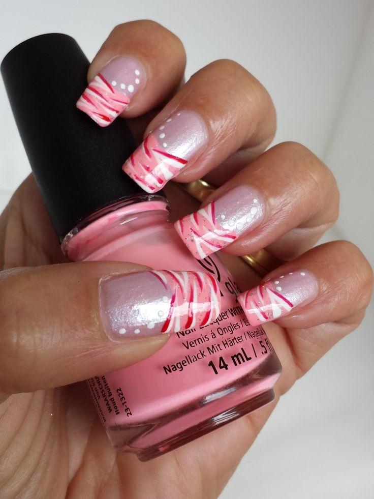 French Manicure: Pink-White-Red Zebra Stripes - Nailpolishheaven