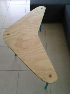 Boomerang coffee table handmade wood by verywoodthings.com