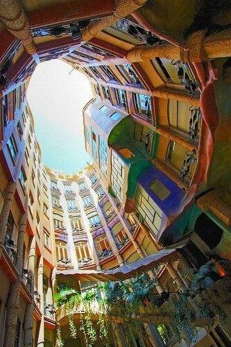 Barcelona Spain Amazing organic 20's Gaudi style architecture.