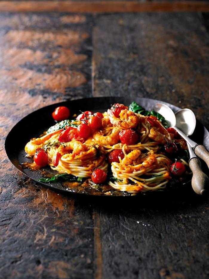 Roasted Prawn & Tomato Spaghetti with Cavolo Nero - this is so good!