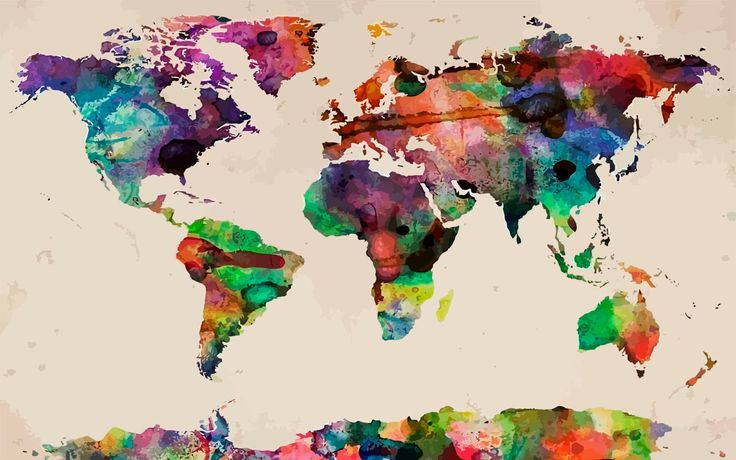 """A colorful map to the world - our WaterColors World Map Plush Fuzzy Area Rug 48x30, 60X48, 96x44. 96x60"""" - Nat/Cream or Charcoal * Graphics licensed from artPulse 2014 - crafted by DZS Designs"""