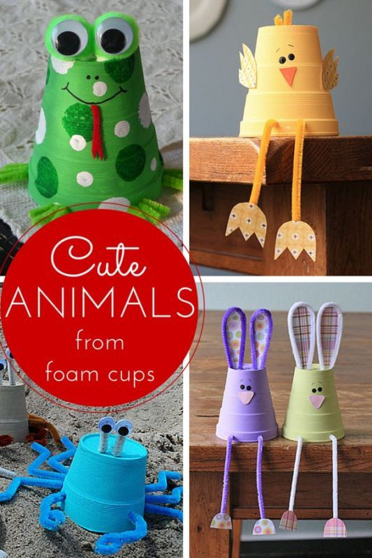 Make It: Foam Cup Animals - Tutorial #kids #kidscrafts