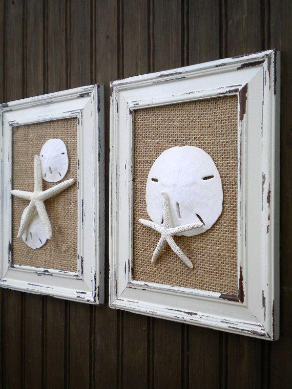Cottage Chic Seashell Wall Art, Starfish Decor, Beach Home Decor, Framed…
