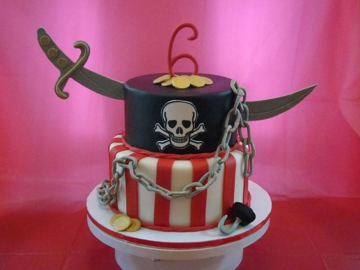 This cake was inspired by a Sharon Zambito design. It's a 10 and 8 inch round covered in fondant.  The #6, chain, coins, hook and sword were alll made from fondant.  The skull and crossbones is an edible image.  TFL!!