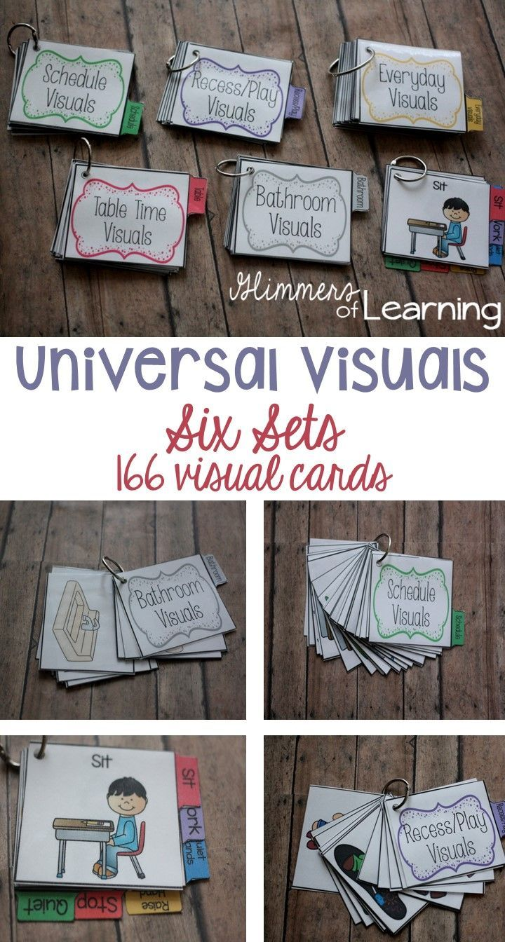 "These are awesome!! Visuals are key to support students with disabilities but they have also been proven to help ALL students! Visuals are all stated in a positive language. Example ""quiet hands"" instead of ""No hitting."" Positive language is shown to decrease negative behavior more effectively. You get a set of 6 and 166 visual cards!!"