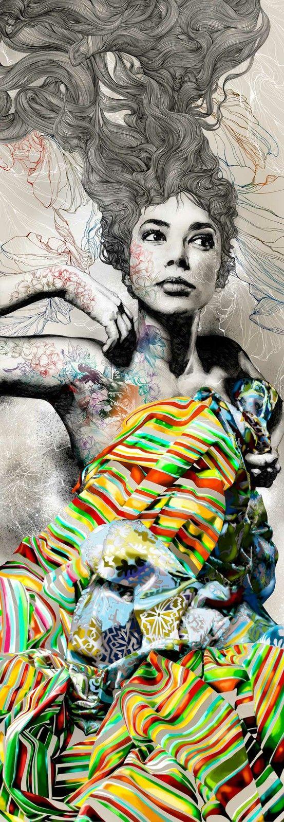Gabriel Moreno.: Madrid Spain, Urban Art, Illustration, Street Art, Mixed Media, Colors Pencil, Portraits, Painting, Gabriel Moreno