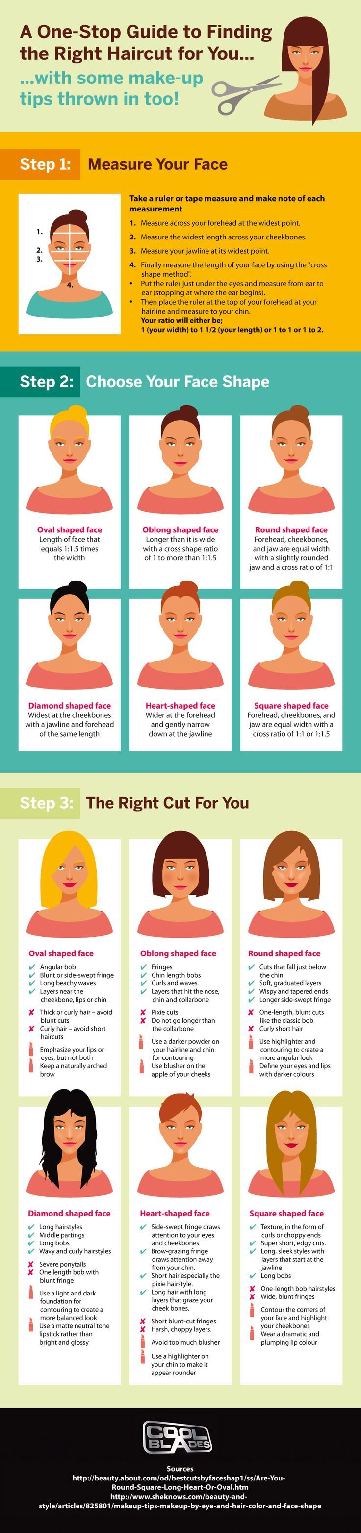 Knowing your face shape can be so helpful when choosing a hairstyle, or even doing your makeup. Its not the most important rule in the world to follow, but you'd be surprised as the difference it c… Source