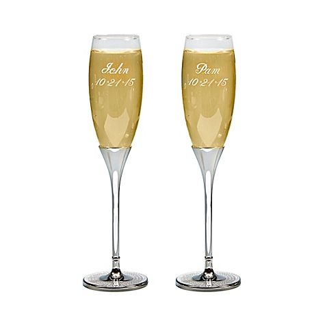 Enjoy a toast on Oscars night with the Glitter Galore Toasting Flutes. This pair of glasses feature silver stems accented with glittering crystals at the base. Add an engraving for a special, personalized touch.