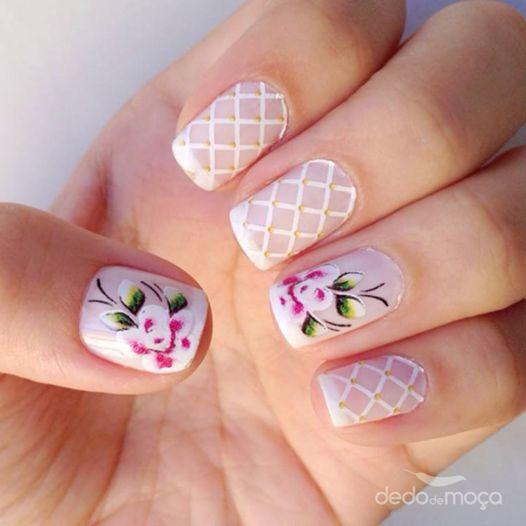 unhas artísticas faça você mesmo unhas decoradas desenhadas flores francesinha