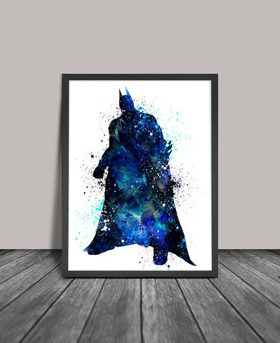 Batman Watercolor Print, Batman Art, Watercolor Batman Print, Super Hero Poster, Wall Art Poster  (63)