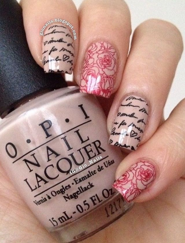 Romantic stamping nails with moyou london princess plate 08