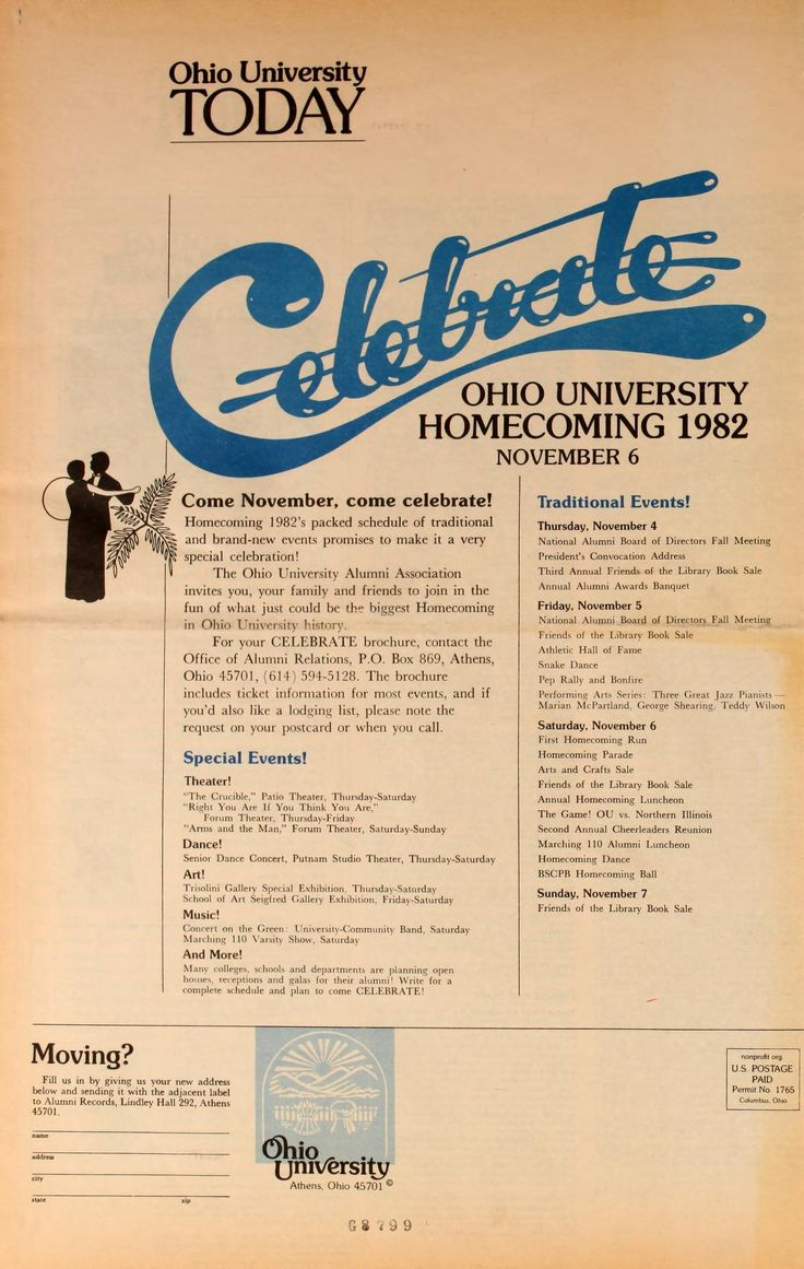 "Ohio University Today, Summer 1982. ""Celebrate Ohio University Homecoming 1982, November 6."" An advertisement to Ohio University alumni, showing schedule of events for 1982 Homecoming. :: Ohio University Archives."
