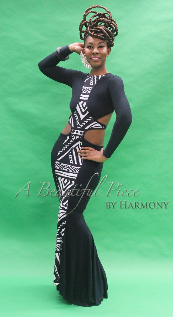 Full Length long sleeve print dress  'African by fashionsbyharmony, $99.00