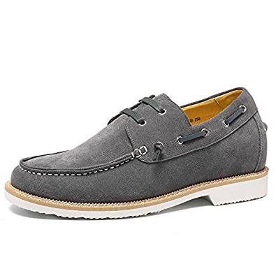 CHAMARIPA ascensore scarpe da uomo in pelle scamosciata scarpe da sera barca casuale Altezza crescente Shoes Mocassini - 6 cm più alti
