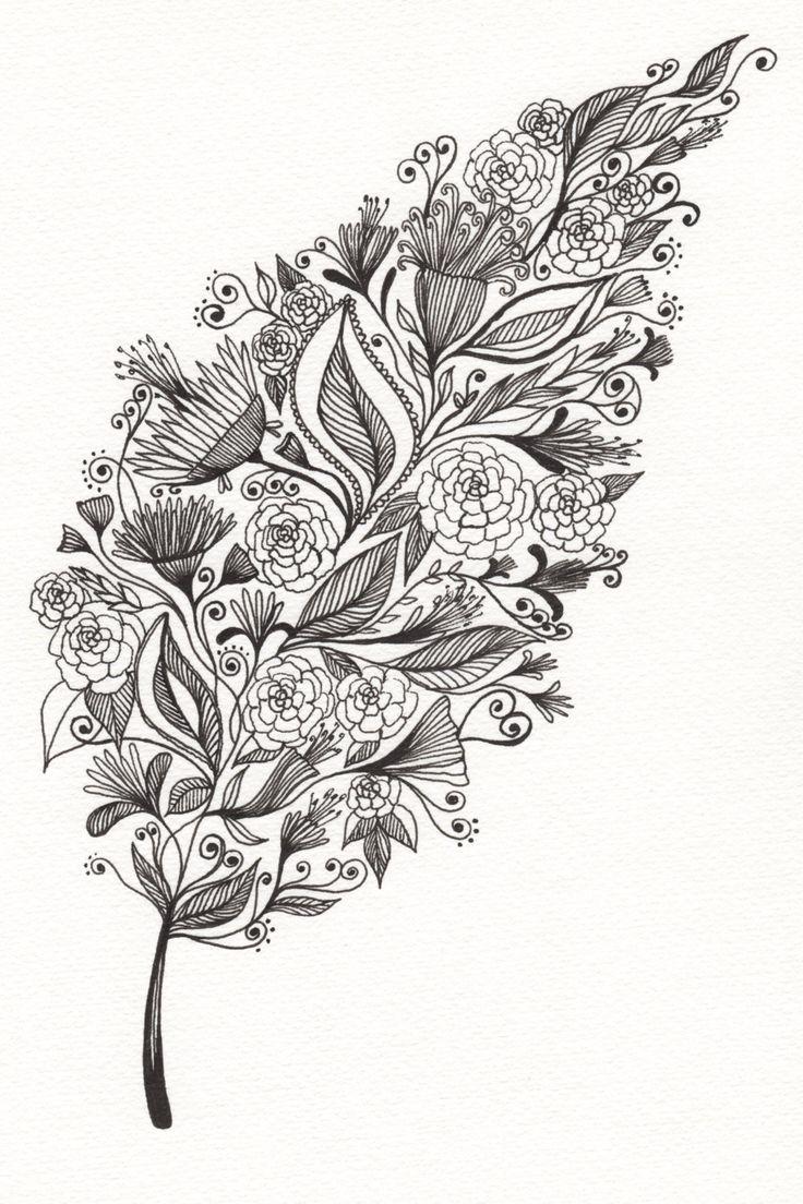 "Patterned Leaf Art Drawing 8x10"" Print Unframed. via Etsy. By Art The Little Leaf"