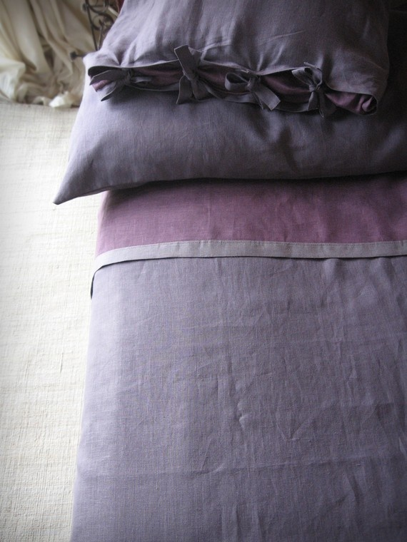 Duvet cover King in pure linen My Purple  by LovelyHomeIdea, $225.00