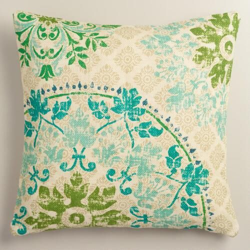 One of my favorite discoveries at WorldMarket.com: Cool Vintage Style Medallion Print Jute Throw Pillow