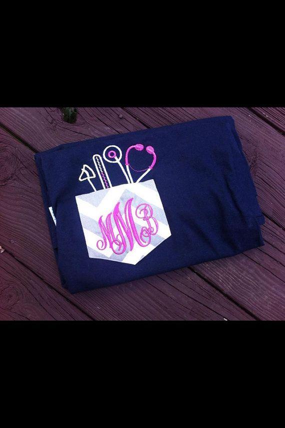 Nurse, Doctor, or Vet Personalized Monogram Pocket Shirt on Etsy, $16.00
