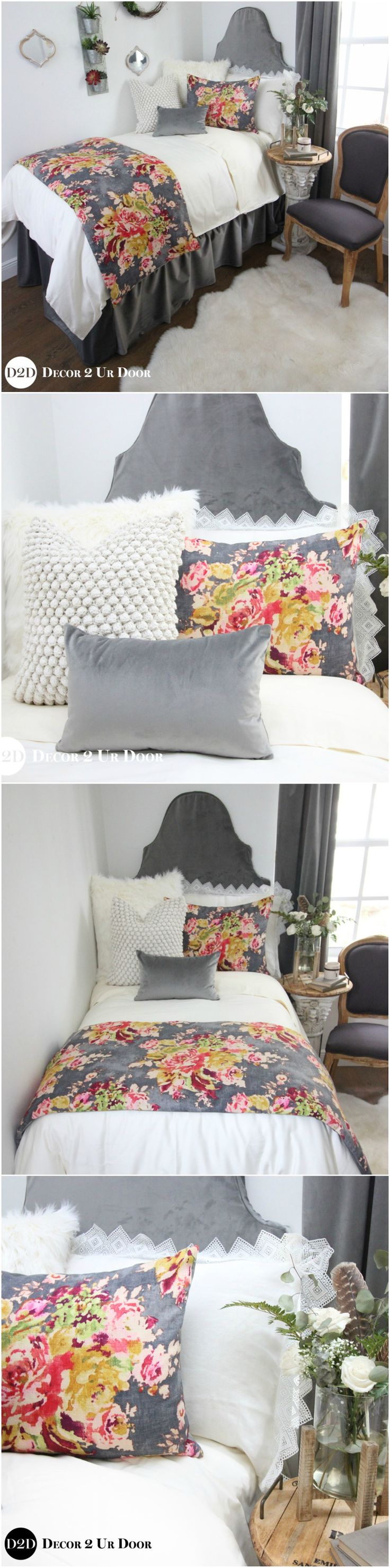Dorm room bedding set: This multi-color floral print features grey, pink, red, green, and yellow/ivory hues. This set has to be one of our all time dorm room bedding favorites. Trending this year: velvets and florals. Why not combine two into one set? Our brand new grey velvet is soft and cuddly as can be – while adding a sophisticated and stately vibe to your perfect dorm room.