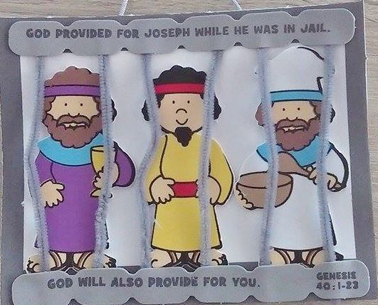 Great craft when teaching Genesis 40:1-23  Motto: God provided for Joseph while he was in jail. God will also provide for you.  Self-a...