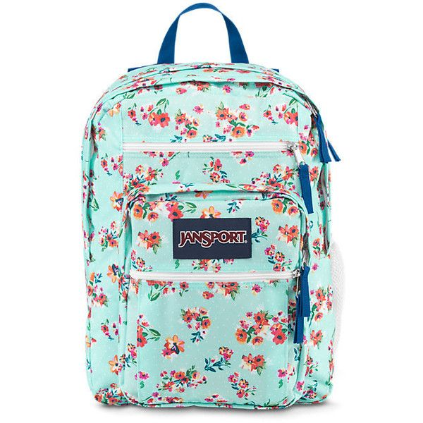 JanSport Big Student Backpack Multi Painted Ditzy ($46) ❤ liked on Polyvore featuring bags, backpacks, jansport, print backpacks, green bags, pattern bag and rucksack bag