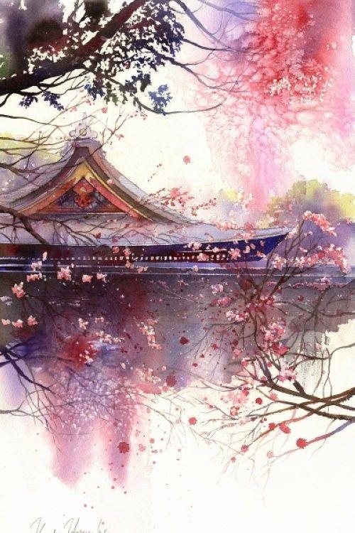 【蔓纪】春崎干太,来自日本的水彩画家。。风景为主,妻子春崎阳子也是一位水彩画家。。