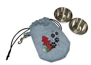 On the go! Suede Pouch & Dog Bowl