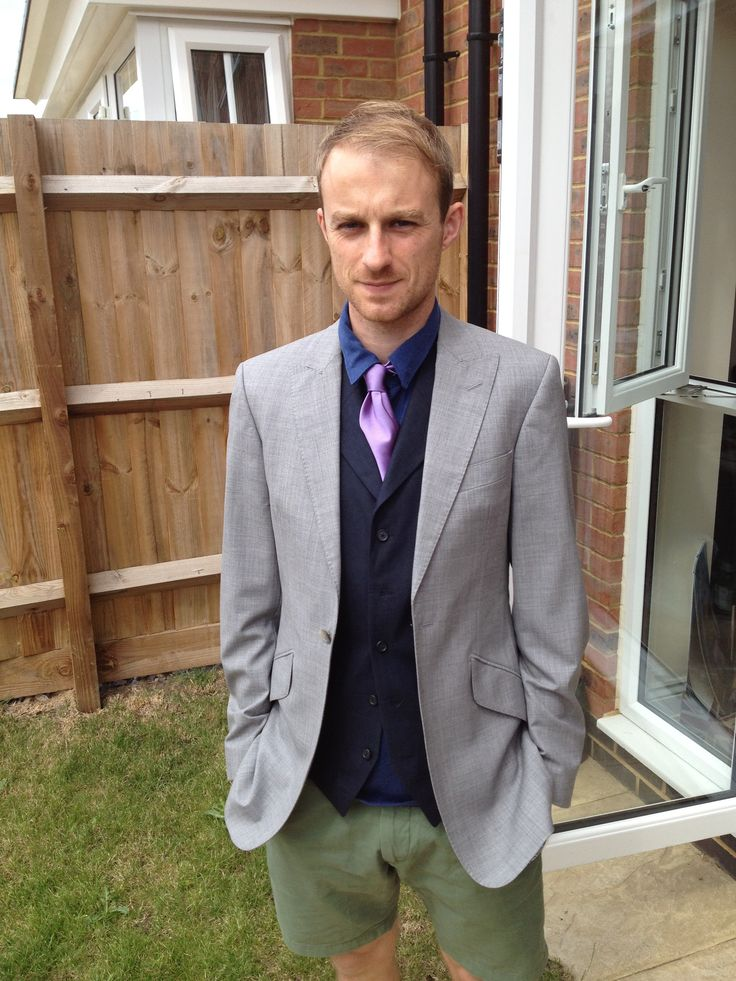 Grey suit with navy blue linen waistcoat - just ignore my t shirt ...