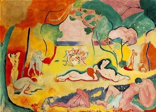Fauvism and expressionism: Henri Matisse, Bonheur de Vivre (Joy of Life), 1905-06, oil on canvas, 176.5 x 240.7 cm. As with the earlier Fauve canvases, colour is responsive only to emotional expression and the formal needs of the canvas, not the realities of nature.