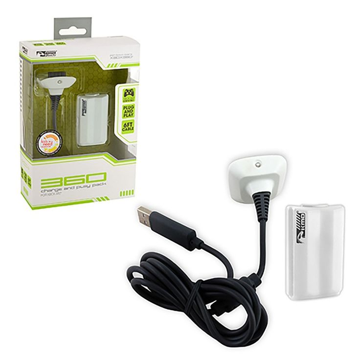 White Xbox 360 Controller Charge & Play Pack  https://www.retrogamingstores.com/gaming-accessories/xbox-360-charge-and-play-pak-cable-white-komodo  Uninterrupted game play for all your favorite video games.