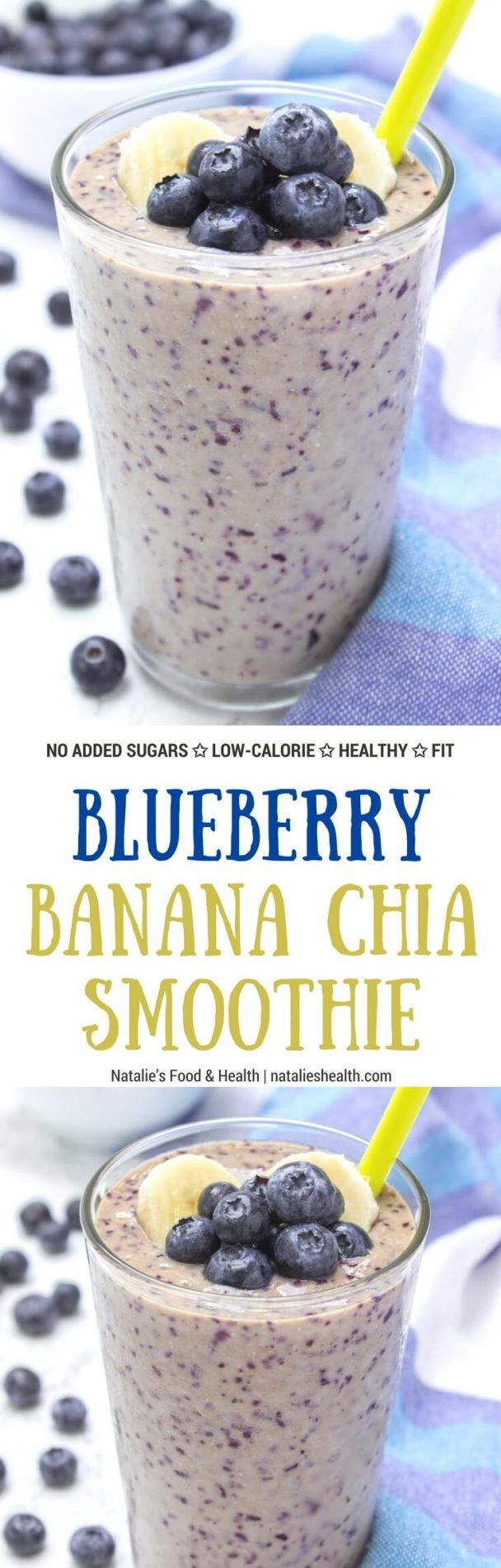 Blueberry Banana Chia Smoothie is the ultimate morning breakfast smoothie! It's HEALTHY, deliciously creamy and SO satisfying + refined sugar-free and packed with nutrients and powerful antioxidants. #smoothie #summer #fit #workout #sugarfree #healthy #kidsfriendly #whole30 #weightloss #skinny #lowcalorie | natalieshealth.com