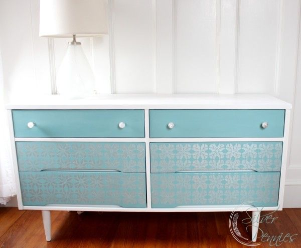 A gorgeous dresser finished in Pure White & Provence Chalk Paint® decorative paint by Annie Sloan. It was beautifully stenciled with the Adana Floral Stencil from stockist Royal Design Studio   By Finding Silver Pennies