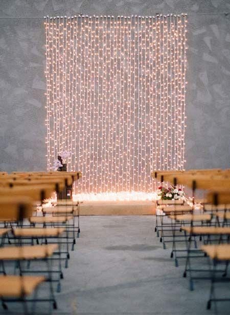cortina de luces como photocall o fondo para decorar el altar de una boda  #wedding #bodas #decoracion #decoration #crafts #diy #ideas #manualidades #original #party #fiesta #photocall #background #fondo #curtain #garland #lights #luces #cortina