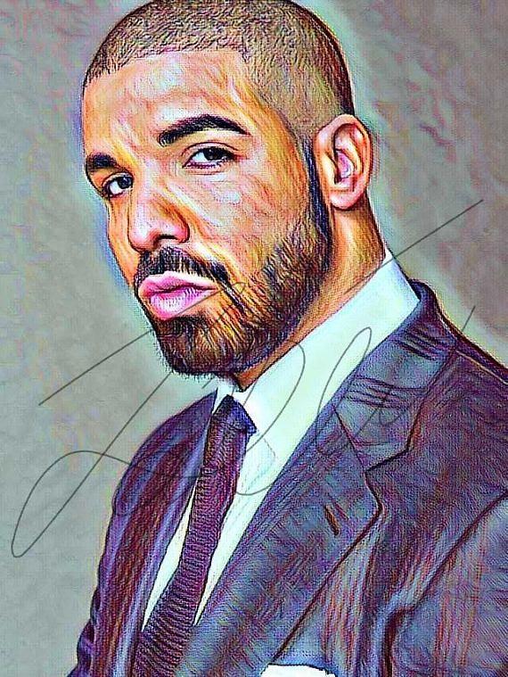 drake coloured drawing illustration wall art sketch print poster portrait rapper hand drawn