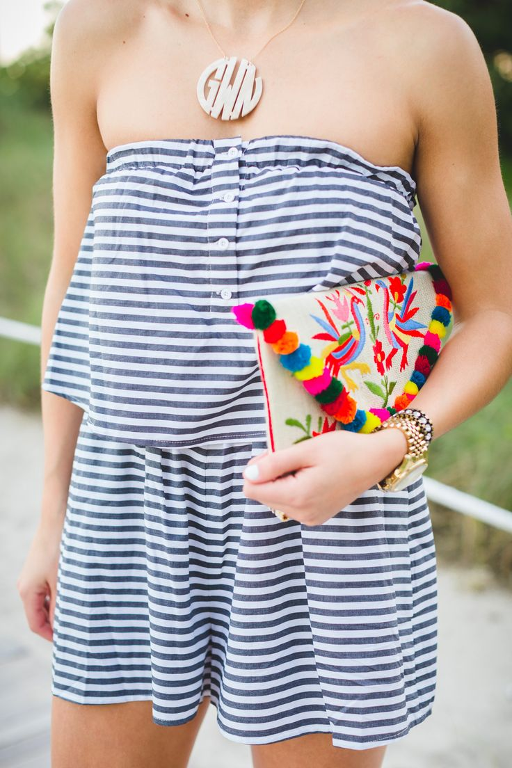 stripe romper, beach style, strapless romper, stripe strapless romper, pom clutch, colorful clutch, acrylic monogram necklace // grace wainwright from a southern drawl