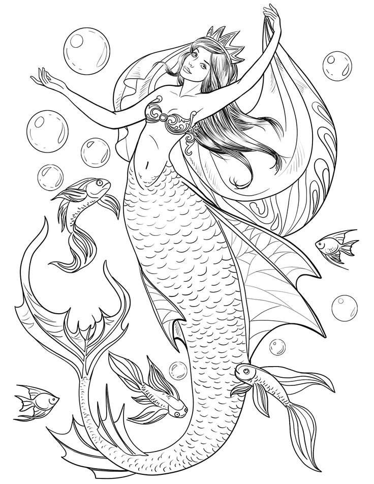 Mermaid Coloring Pages for Adults Mermaid coloring book