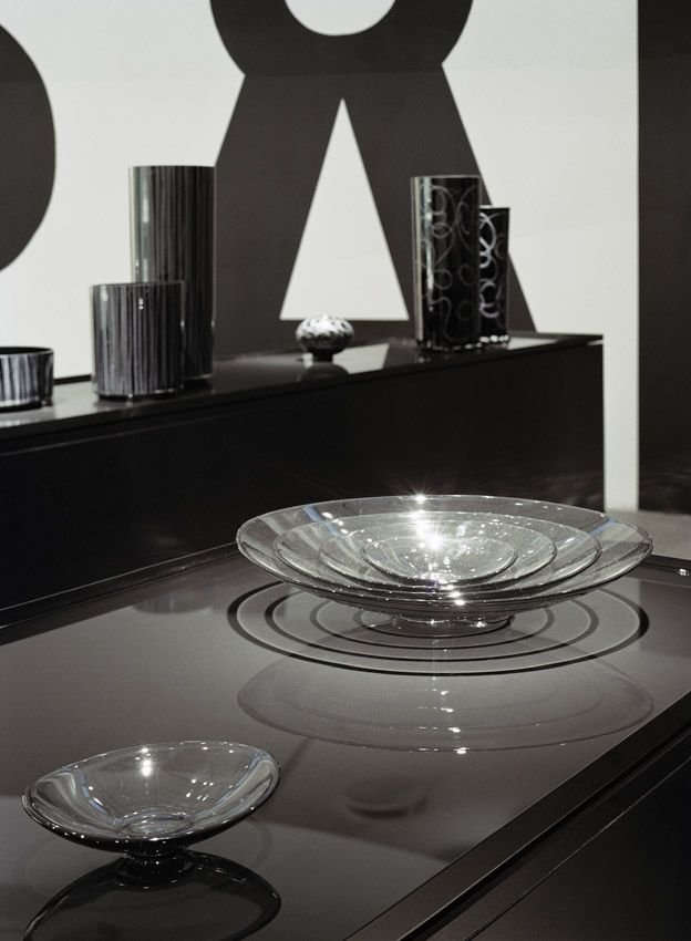 """Exhibition """"Ingegerd Råman - Back In Black"""" by Claesson Koivisto Rune, Stockholm, 2005. All the objects stand on water."""