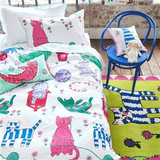 Curious Cats Peony Kids Bed Linen | Designers Guild